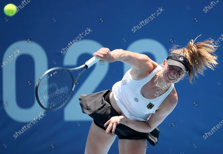 Stock Picture of Mona Barthel of Germany in action against Iga Swiatek of Poland during their women's singles first round match of the Tokyo 2020 Olympic Games in Tokyo, Japan, 24 July 2021.