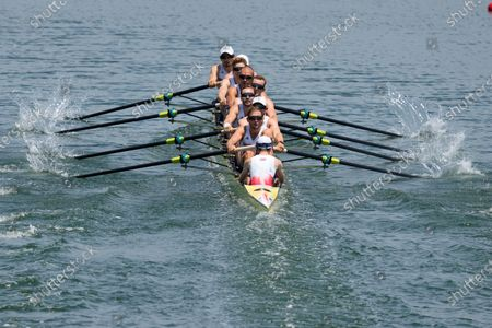 Josh Bugajski, Jacob Dawson, Tom George, Mohamed Sbihi, Charles Elwes, Oliver Wynne-Griffith, James Rudkin, Tom Ford, and Henry Fieldman, of Britain, compete in the men's eight heat at the 2020 Summer Olympics, in Tokyo, Japan