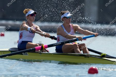 Tracy Eisser and Megan Kalmoe, of the United States, compete in the women's pair at the 2020 Summer Olympics, in Tokyo, Japan