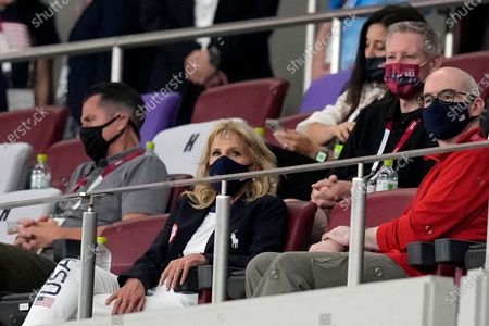 First lady of the United States Jill Biden watches during a women's soccer match between the United States and New Zealand at the 2020 Summer Olympics, in Saitama, Japan