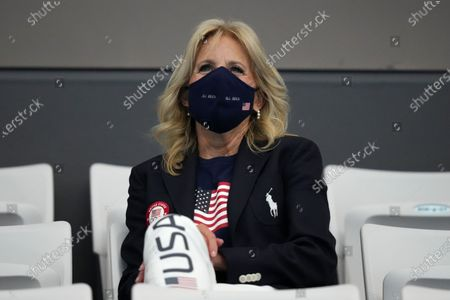 First Lady of the United States Jill Biden watches the swimming competition at the 2020 Summer Olympics, in Tokyo