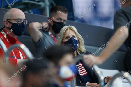 US First Lady Jill Biden during the Swimming events of the Tokyo 2020 Olympic Games at the Tokyo Aquatics Centre in Tokyo, Japan, 24 July 2021.