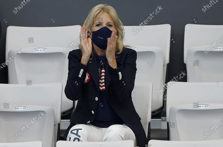US First Lady Jill Biden appaluds Chase Kalisz of USA (not pictured), who competes for the Men's 400m Individual Medley Swimming event of the Tokyo 2020 Olympic Games at the Tokyo Aquatics Centre in Tokyo, Japan, 24 July 2021.