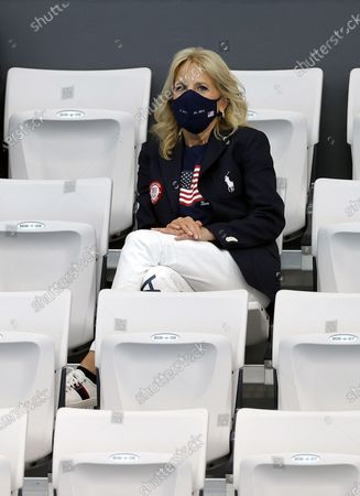 US First Lady Jill Biden watches the races from the tribune during the Swimming events of the Tokyo 2020 Olympic Games at the Tokyo Aquatics Centre in Tokyo, Japan, XX July 2021.