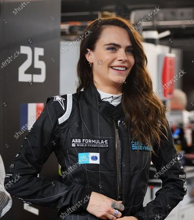 Model and actress Cara Delevigne in the DS Techeetah garage during the 2021 Formula E Round 12 - London E-Prix