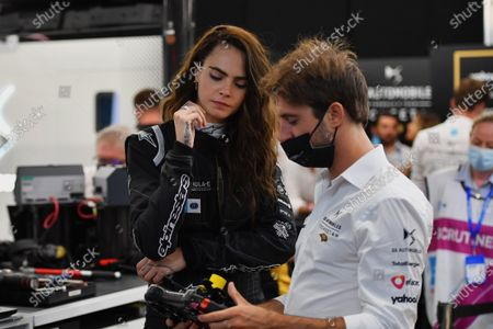 Model and actress Cara Delevigne in the DS Techeetah garage with Antonio Felix da Costa (PRT), DS Techeetah during the 2021 Formula E Round 12 - London E-Prix