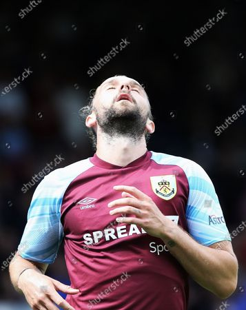 Stock Image of Burnley forward Jay Rodriguez (19) looks frustrated after shooting wide during the Pre-Season Friendly match between Oldham Athletic and Burnley at Boundary Park, Oldham