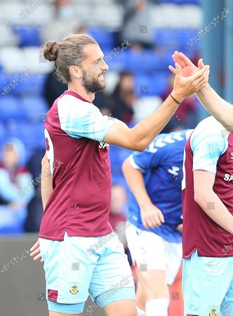 Goal 1-0 Burnley forward Jay Rodriguez (19) celebrates his goal during the Pre-Season Friendly match between Oldham Athletic and Burnley at Boundary Park, Oldham