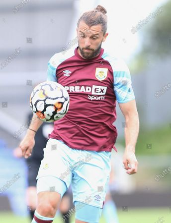 Stock Picture of Burnley forward Jay Rodriguez (19) controls the ball during the Pre-Season Friendly match between Oldham Athletic and Burnley at Boundary Park, Oldham