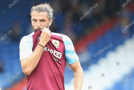 Stock Photo of Burnley forward Jay Rodriguez (19) wipes his mouth during the Pre-Season Friendly match between Oldham Athletic and Burnley at Boundary Park, Oldham