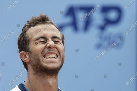 Hugo Gaston of France celebrates his victory against Laslo Djere of Serbia during the semi final round game at the Swiss Open tennis tournament in Gstaad, Switzerland, on 24 July  2021.