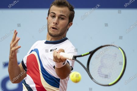Hugo Gaston of France in action against Laslo Djere of Serbia during the semi final round game at the Swiss Open tennis tournament in Gstaad, Switzerland, on 24 July  2021.