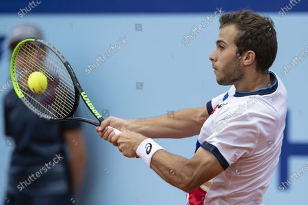 Hugo Gaston of France in action against Laslo Djere of Serbia during the semi final round game at the Swiss Open tennis tournament in Gstaad, Switzerland, 24 July 2021.