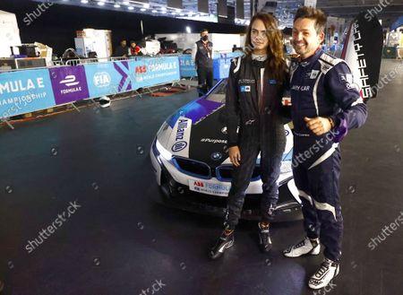 Model and Actress Cara Delevigne with Safety car driver Bruno Correa during the 2021 Formula E Round 12 - London E-Prix