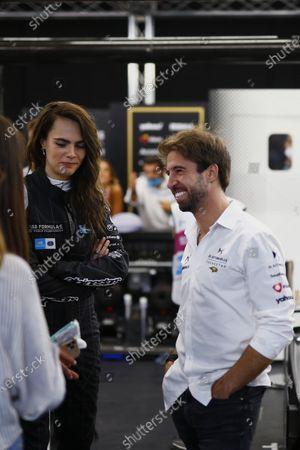 Model and actress Cara Delevigne in the DS Techeetah garage with Antonio Felix da Costa (PRT), DS Techeetah during the  Formula E Round 12 - London E-Prix