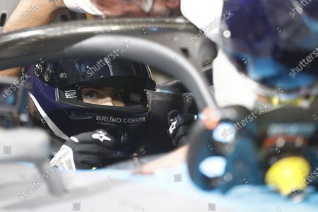 Model and Actress Cara Delevigne drives the Formula E car during the  Formula E Round 12 - London E-Prix