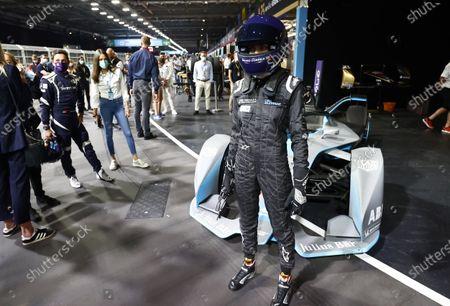 Model and Actress Cara Delevigne with the Formula E car during the  Formula E Round 12 - London E-Prix