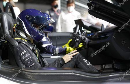 Stock Photo of Model and Actress Cara Delevigne drives the Formula E car during the 2021 Formula E Round 12 - London E-Prix