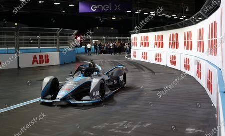 Stock Picture of Model and Actress Cara Delevigne drives the Formula E car during the 2021 Formula E Round 12 - London E-Prix