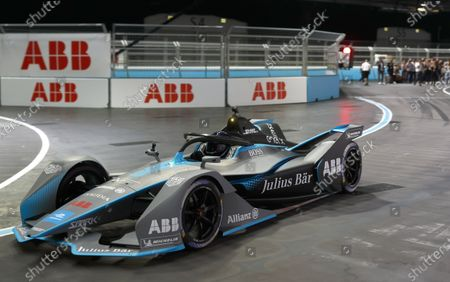 Cara Delevigne drives the Formula E car during the 2021 Formula E Round 12 - London E-Prix