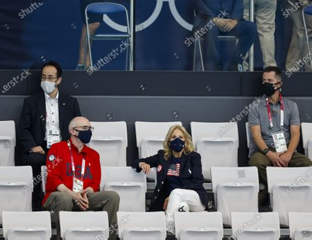 Stock Image of First Lady Jill Biden watches the first day of swimming competitions at the Tokyo Aquatics Center, during the Tokyo Summer Olympic Games in Tokyo, Japan, on Saturday July 24, 2021.