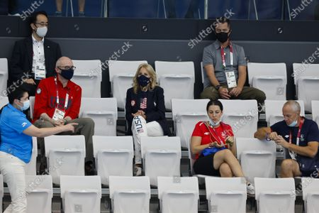 First Lady Jill Biden watches the first day of swimming competitions at the Tokyo Aquatics Center, during the Tokyo Summer Olympic Games in Tokyo, Japan, on Saturday July 24, 2021.