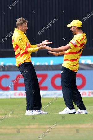 Joe Root of Trent Rockets celebrates taking a wicket during the The Hundred match between Trent Rockets and Southern Brave at Trent Bridge, Nottingham