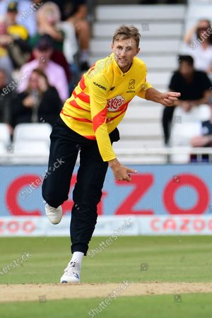 Joe Root of Trent Rockets bowling from the Radcliffe Road End during the The Hundred match between Trent Rockets and Southern Brave at Trent Bridge, Nottingham