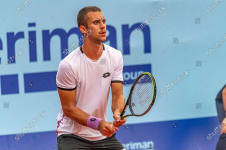 Stock Image of Gstaad Switzerland, 07/24/2021: Laslo Djere of Serbia is in action during the Gstaad Swiss Open ATP Tour 250 Series 2021 tournament final