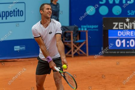 Gstaad Switzerland, 07/24/2021: Laslo Djere of Serbia is in action during the Gstaad Swiss Open ATP Tour 250 Series 2021 tournament final