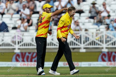 Joe Root of Trent Rockets celebrates taking a wicket