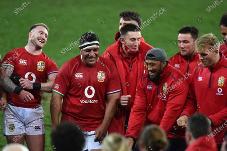 (L to R) Stuart Hogg, Mako Vunipola, Josh Adams, Budee Aki, Zander Fagerson and Chris Harris - British & Irish Lions players following an historic 17-22 victory over the Springboks in the 1st Test match of three in the series.