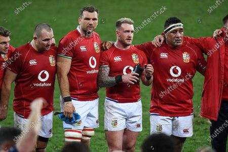 (L to R) Dan Biggar, Ken Owens, Tadhg Beirne, Stuart Hogg and Mako Vunipola - British & Irish Lions players following an historic 17-22 victory over the Springboks in the 1st Test match of three in the series.