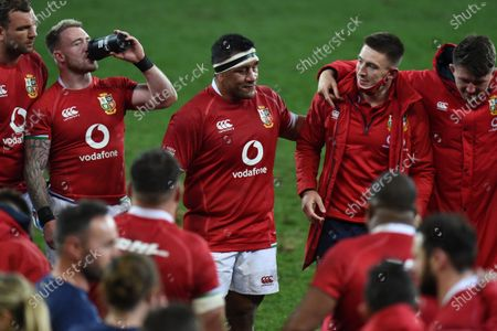 (L to R) Tadhg Beirne, Stuart Hogg, Mako Vunipola, Josh Adams and Tom Curry - British & Irish Lions players following an historic 17-22 victory over the Springboks in the 1st Test match of three in the series.