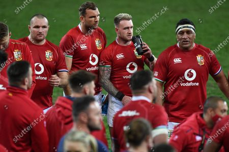 (L to R) Ken Owens, Tadhg Beirne, Stuart Hogg and Mako Vunipola - British & Irish Lions players following an historic 17-22 victory over the Springboks in the 1st Test match of three in the series.