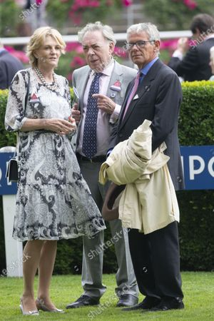 Stock Image of Lady Madeleine Lloyd- Webber, Sir Andrew Lloyd Webber and Charlie Gordon-Watson at the QIPCO King George Diamond Cup