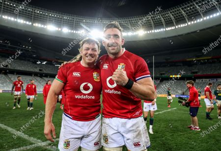 Castle Lager Lions Series First Test, Cape Town Stadium, Cape Town, South Africa 24/7/2021. South Africa vs British & Irish Lions. British & Irish Lions' Hamish Watson and Jack Conan celebrate after the game