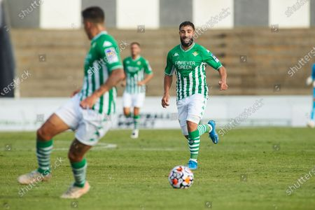 Nabil Fekir of Real Betis in action during the football friendly match played between Real Betis Balompie and Wolveshampton Wanderers FC at Municipal La Linea Stadium on July 24, 2021 in Cadiz, Spain.