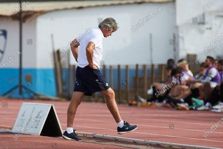 Manuel Pellegrini, head coach of Real Betis, laments during the football friendly match played between Real Betis Balompie and Wolveshampton Wanderers FC at Municipal La Linea Stadium on July 24, 2021 in Cadiz, Spain.
