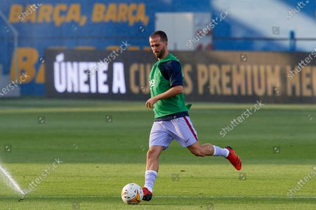 Miralem Pjanic of Barcelona during the warm-up before the pre-season friendly match between FC Barcelona and Girona FC at Estadi Johan Cruyff on July 24, 2021 in Barcelona, Spain.