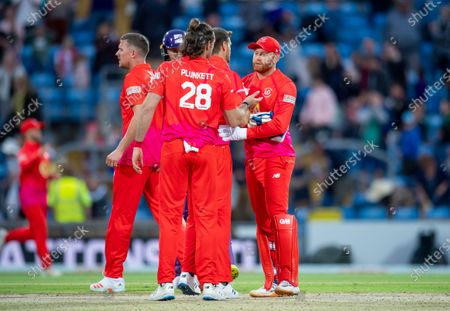 Welsh Fire's Jonny Bairstow congratulates his team on victory over the Northern Superchargers.