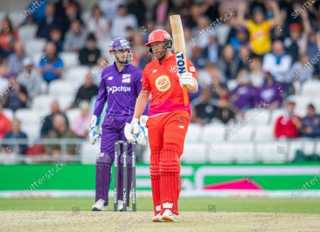Welsh Fire's Jonny Bairstow celebrtaes his half century against the Northern Superchargers.
