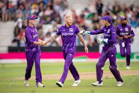 Northern Superchargers's Ben Stokes is congratulated on dismissing Welsh Fire's Jonny Bairstow.