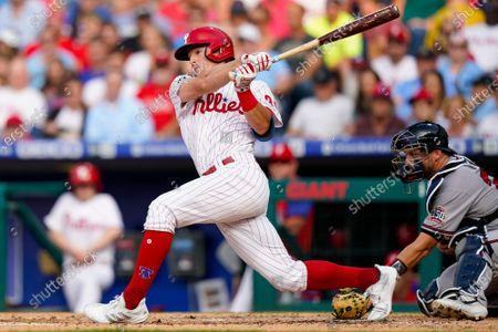 Philadelphia Phillies' Luke Williams in action during a baseball game against the Atlanta Braves, in Philadelphia