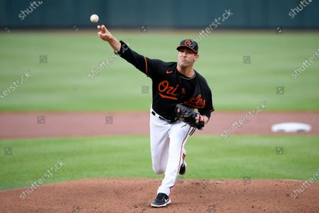 Baltimore Orioles starting pitcher Matt Harvey delivers during the first inning of a baseball game against the Washington Nationals, in Baltimore