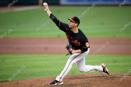 Stock Picture of Baltimore Orioles starting pitcher Matt Harvey delivers during the fifth inning of a baseball game against the Washington Nationals, in Baltimore