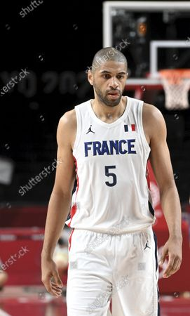 Nicolas Batum of team France during preliminary basketball game between France and United States of America at the Tokyo Summer Olympic Games in the Saitama Super Arena in Saitama, on July 25, 2021.