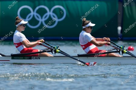 Jessica Sevick and Gabrielle Smith, of Canada, compete in the women's double sculls semifinal at the 2020 Summer Olympics, in Tokyo, Japan
