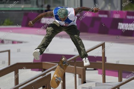 Manny Santiago of Puerto Rico competes in the men's street skateboarding at the 2020 Summer Olympics, in Tokyo, Japan