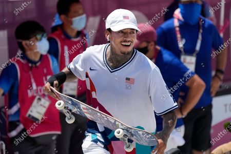 Nyjah Huston of the United States reacts after competing in the men's street skateboarding at the 2020 Summer Olympics, in Tokyo, Japan